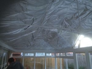 image showing the insulation stage of the insulated conservatory roof