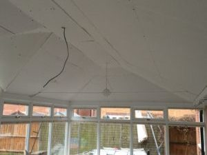 image showing the insulated conservatory roof plasterboards