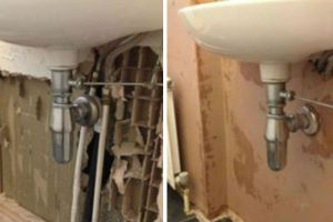 image showing bathroom wall before and after plaster repair