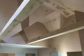 image of vaulted ceiling after new plastering